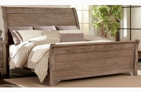 Whiskey Barrel Rustic Gray Sleigh Bed