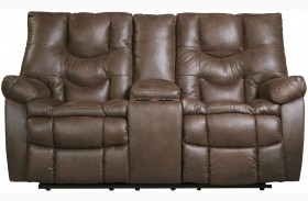 Burgett Espresso Finish Reclining Loveseat with Console