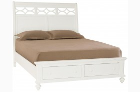 Lynn Haven Soft Dover White Finish Sleigh Storage Bed