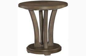 Park Studio Weathered Taupe Finish Round Lamp Table
