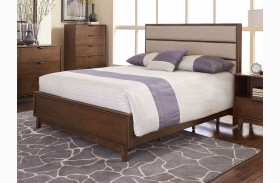 Mid-Mod Cinnamon Upholstered Panel Bed