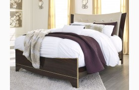 Lenmara Reddish Brown Upholstered Panel Bed