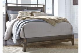 Zilmar Brown Finish Upholstered Panel Bed