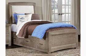 Transitions Driftwood Oak One Side Storage Upholstered Panel Bed