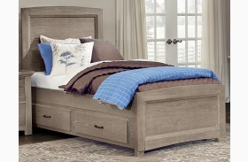 Transitions Driftwood Oak Youth Two Side Storage Panel Bed