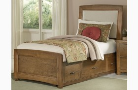 Transitions Dark Oak Youth Two Side Storage Upholstered Panel Bed