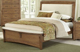 Transitions Dark Oak Upholstered Panel Bed