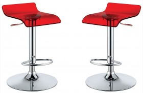 Trixy Red Finish Low Back Bar Chair Set Of 2