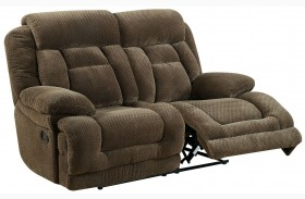 Grenville Brown Finish Reclining Console Loveseat