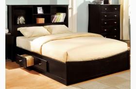 Brooklyn Espresso Bookcase Platform Bed