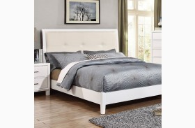 Enrico I White Finish Upholstered Bed