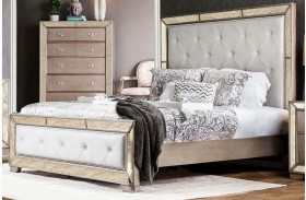 Loraine Silver Finish Upholstered Panel Bed