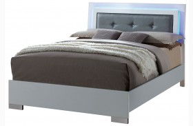 Clementine Smooth White Finish Upholstered Bed