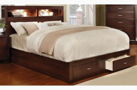 Gerico II Brown Cherry Storage Platform Bed