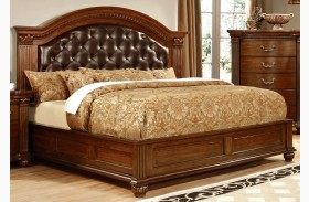 Grandom Cherry Leatherette Bed