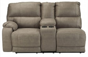 Bohannon Taupe Left Arm Facing Double Power Reclining Console Loveseat