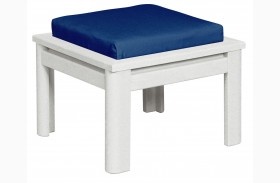 Stratford Small Ottoman With Indigo Cushions