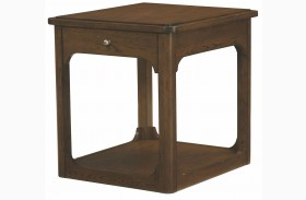 Facet Smoky Brown Oak Drawer End Table