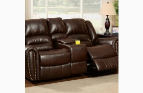 Dudhope Dark Brown Finish Reclining Loveseat