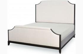Symphony Platinum & Black Tie Upholstered Panel Bed