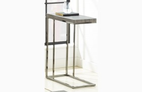 Lucia Black Nickel Finish Chairside End Table