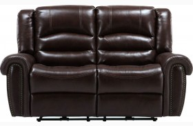 Gershwin Java Finish Dual Power Reclining Loveseat