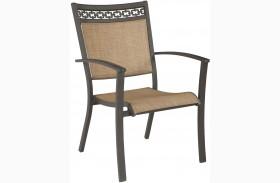 Carmadelia Tan and Brown Finish Sling Chair Set of 4