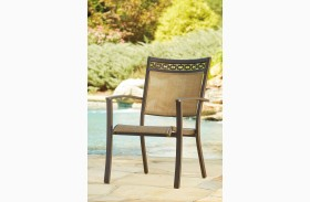 Carmadelia Tan and Brown Finish Sling Chair Set of 4