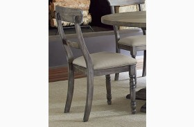 Muses Dove Grey Finish Ladder Back Chair Set of 2
