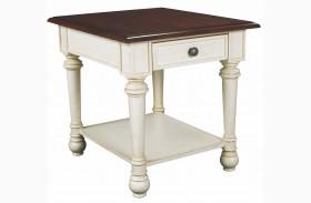 Promenade Antique Linen Drawer End Table