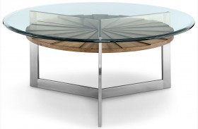 Rialto Toffee And Brushed Nickel Finish Round Cocktail Table