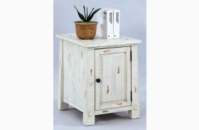Willow Distressed White Finish Chairside Cabinet