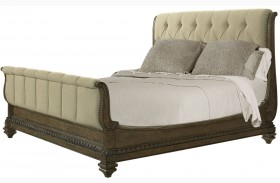 Touraine French Glazed Pecan Finish Sleigh Bed
