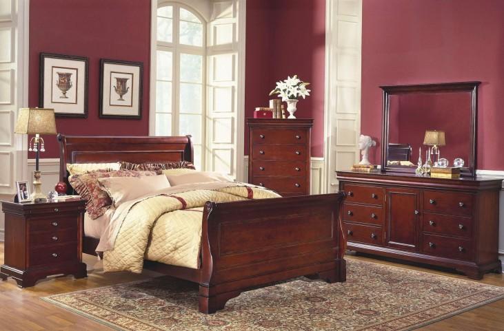 Versaille Bordeaux Sleigh Bedroom Set