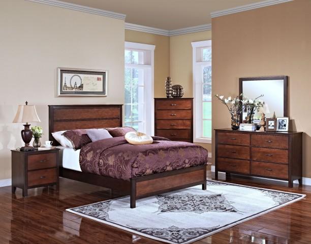 Bishop African Chestnut /Ginger Panel Bedroom Set