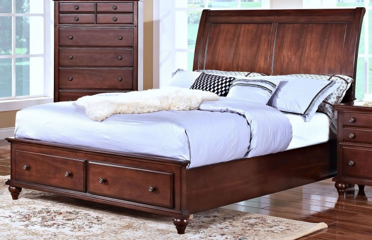 Spring Creek Tobacco Queen Sleigh Storage Bed