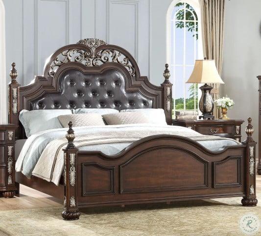 Maximus Madeira Upholstered Poster Bedroom Set