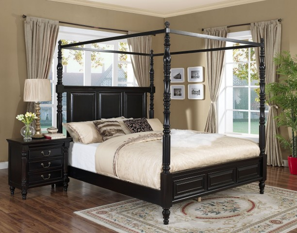 Superieur Martinique Rubbed Black Canopy Bedroom Set With Drapes From New Classics  (00 222 311 331) | Coleman Furniture