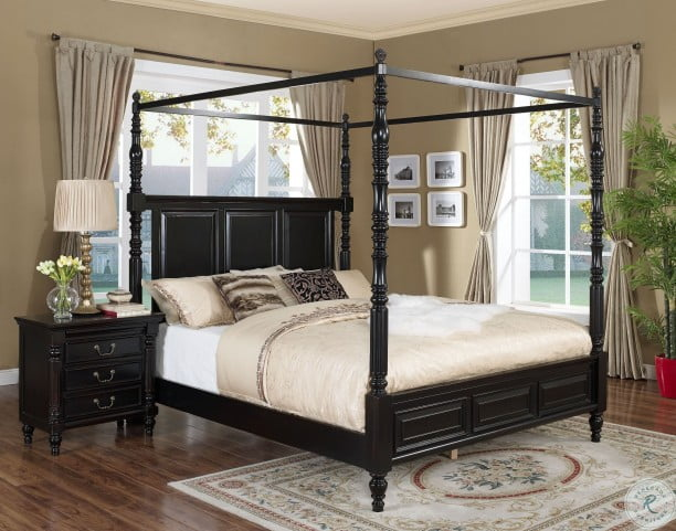 Martinique Rubbed Black Poster Canopy Bedroom Set With Drapes