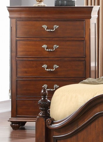 Jaquelyn Cherry 5 Drawer Chest