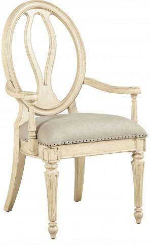 European Cottage Vintage White Arm Chair