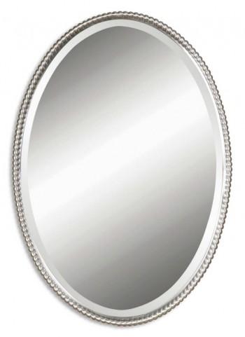Sherise Brushed Nickel Oval Mirror