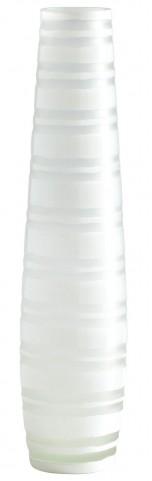 White Matte Stripe Large Vase