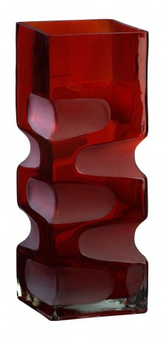 Ruby Etched Small Vase