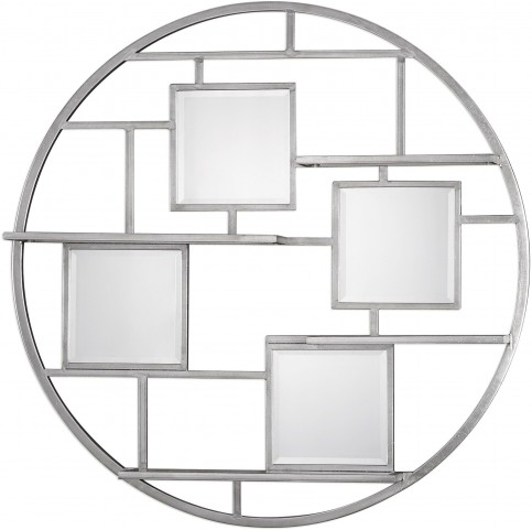 Zaria Silver Mirrored Round Wall Shelf