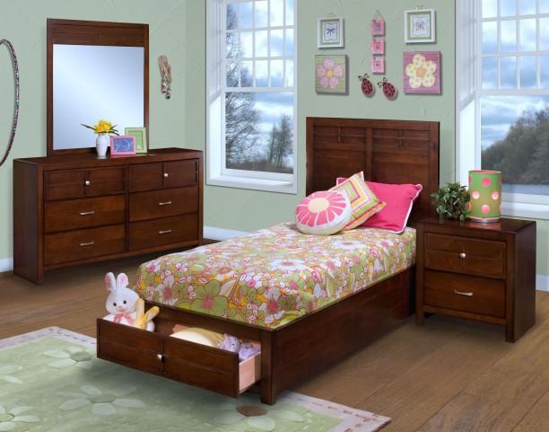 Kensington Burnished Cherry Youth Platform Storage Bedroom Set