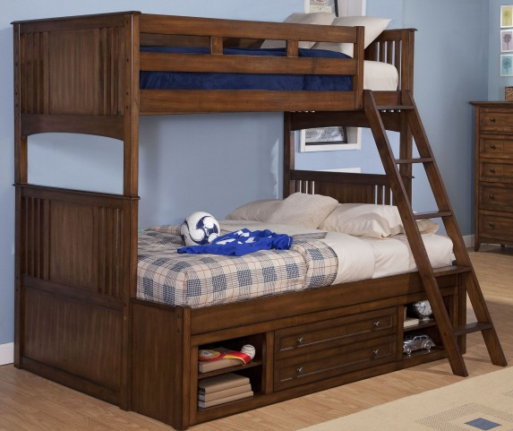 Logan Spice Twin Over Full Storage Bunk Bed
