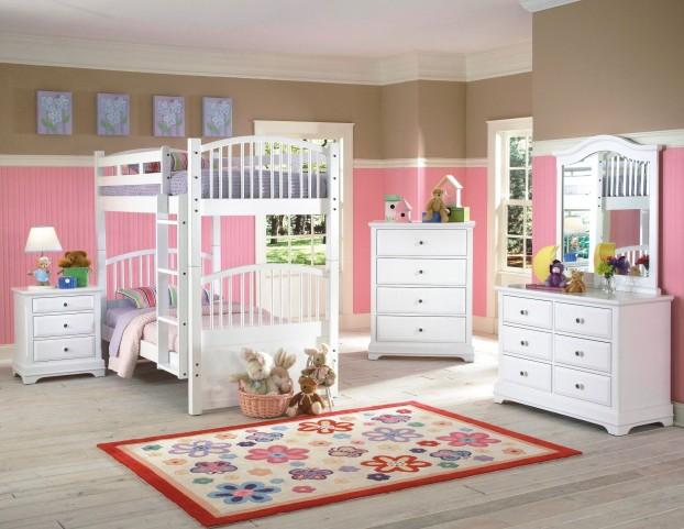 Bayfront White Youth Spindle Bunk Bedroom Set