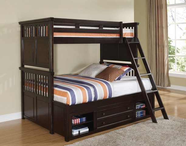 Canyon Ridge African Chestnut Twin Over Full Storage Bunk Bed