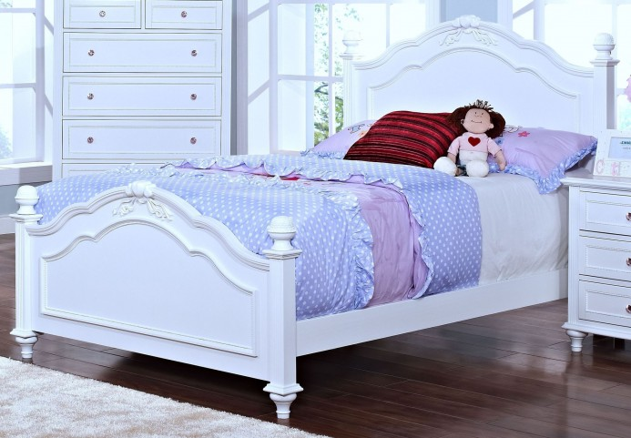 Megan Youth White Twin Poster Bed